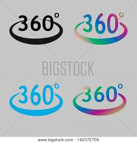 Angle 360 degrees sign icon. Geometry math symbol. Full rotation. colourful buttons. Vector.
