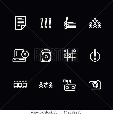 Vector set of Media icons on black background..