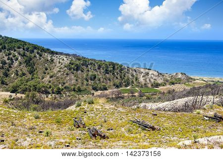 Beautoful cliff landscape of Rhodes island, Greece