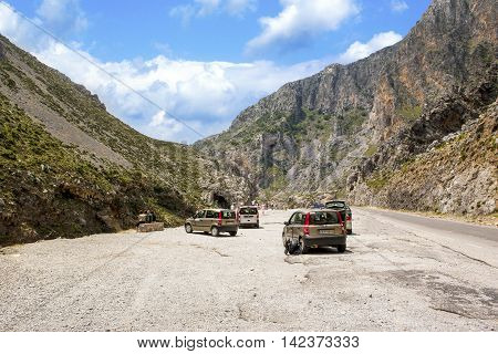 CRETE ISLAND, GREECE - JUNE 23, 2016: Viewpoint in Samaria Gorge, Crete island, Greece, June 23, 2016