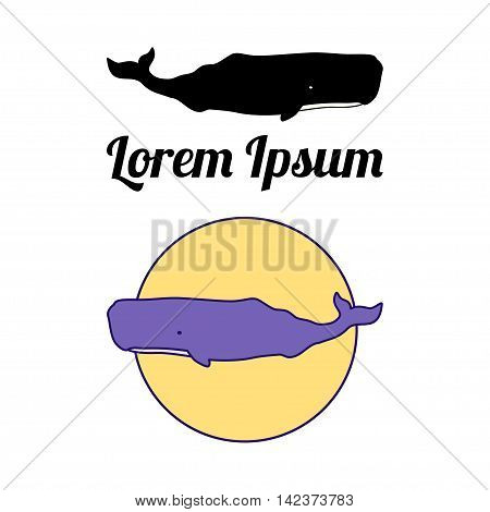 Sperm Whale label, emblem or badge design. Vector illustration. Isolated over white.