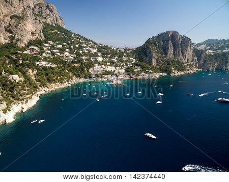Aerial View of Paradise Beach in Capri Island, Italy