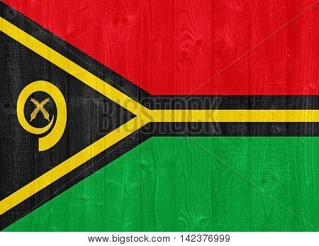 Vanuatu Flag Painted On A Wood Plank Texture