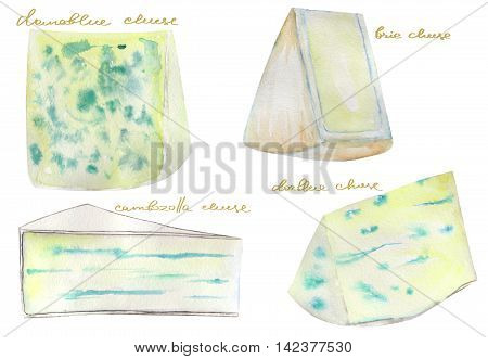 Image set of the isolated watercolor blue French cheeses. Painted hand-drawn in a watercolor on a white background.