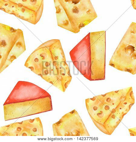 A seamless pattern with the hand-drawn hard Dutch cheeses. Painted in a watercolor on a white background.