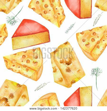 A seamless pattern with the hand-drawn hard Dutch cheeses and spices. Painted in a watercolor on a white background.