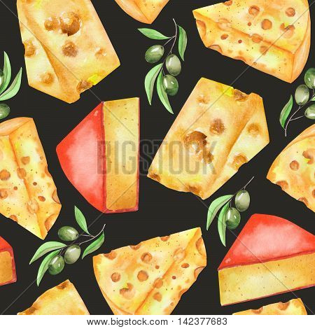 A seamless pattern with the hand-drawn hard Dutch cheeses and olives. Painted in a watercolor on a dark (black) background.
