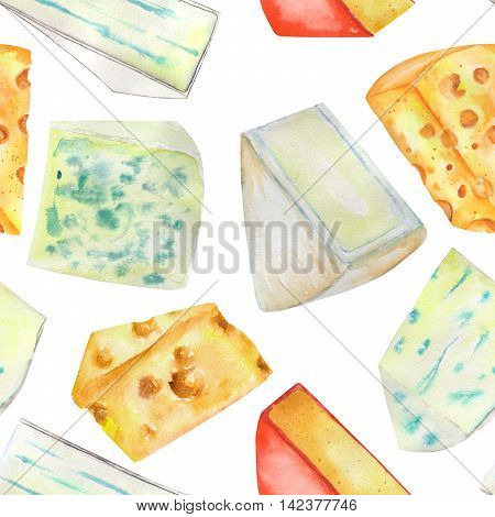 A seamless pattern with the hand-drawn hard Dutch cheeses and blue cheeses. Painted in a watercolor on a white background.
