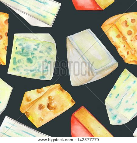 A seamless pattern with the hand-drawn hard Dutch cheeses and blue cheeses. Painted in a watercolor on a dark (black) background.