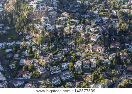 Los Angeles, California, USA - August 6, 2016:  Aerial view of fashionable hillside homes near Laurel Canyon in the hills above West Hollywood.