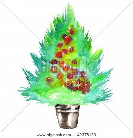 Illustration (image) with an isolated green Christmas tree with the toys (balls) painted in watercolor on a white background