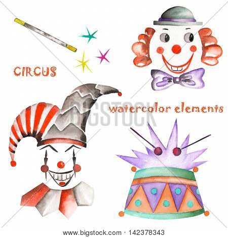 A watercolor circus set with the hand drawn isolated elements: drum, clowns and  harlequins. Painted on a white background