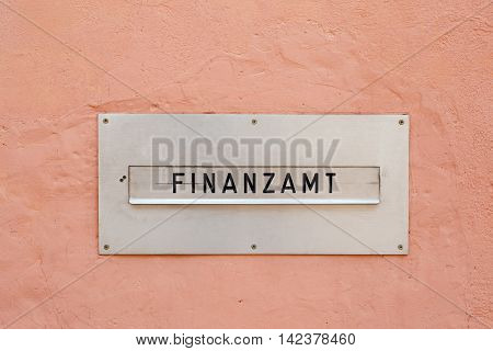 The german word for tax office (Finanzamt) on a letter box