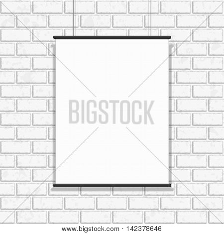Gallery exhibition interior. Blank white poster on white painted brick wall seamless pattern vector background. Modern photo frame and text to your design projects.