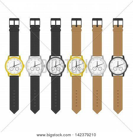 Set of multicolored wrist watches in classic design. Wristwatch icons. Isolated clocks in flat style. Vector collection realistic watch on a white background.