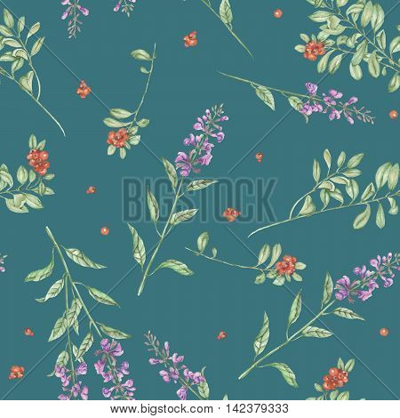 Seamless floral pattern with cowberry and salvia flowers, hand drawn in watercolor on a green background