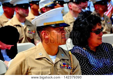 New York City - May 26 2014: United States Marine attending the annual Memorial Day observances in Riverside Park *