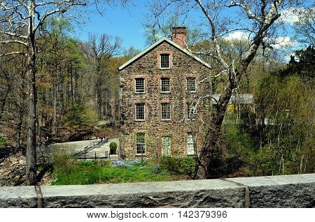 Bronx New York - April 29 2015: The 1840 Old Stone Mill at the New York Botanical Garden