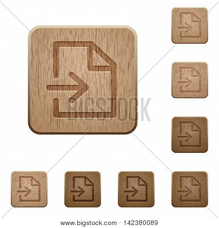 Set of carved wooden import buttons in 8 variations.