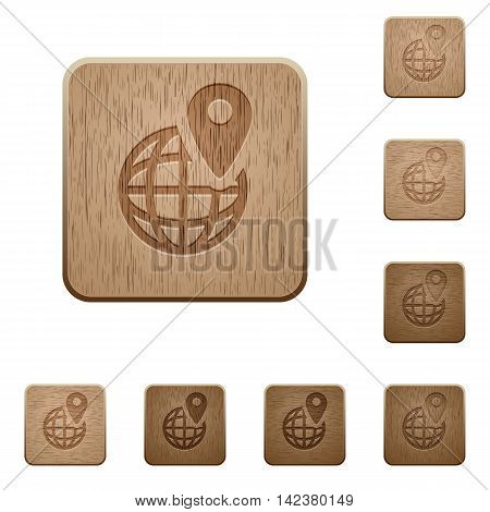 Set of carved wooden GPS location buttons in 8 variations.