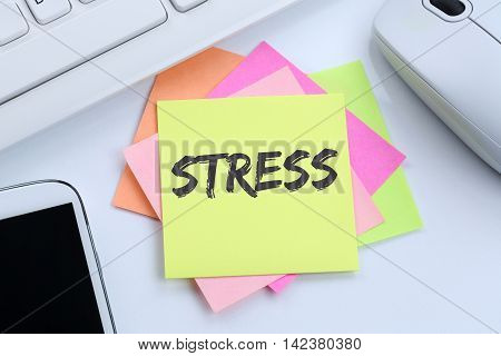 Stress stressed business concept burnout at work relaxed desk computer keyboard