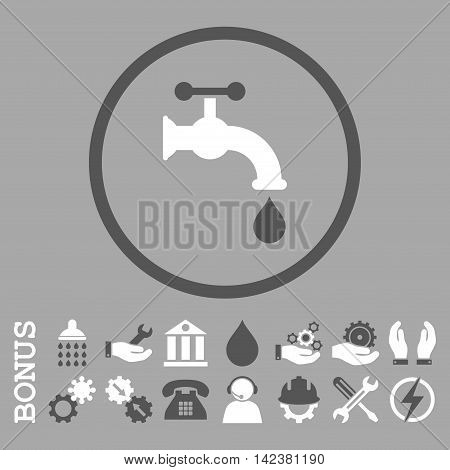 Water Tap vector bicolor icon. Image style is a flat pictogram symbol inside a circle, dark gray and white colors, silver background. Bonus images are included.