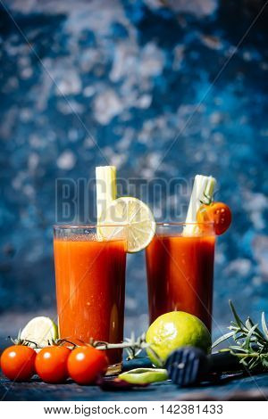 Close-up Details Of Bloody Mary Cocktail Served In Restaurant And Pub