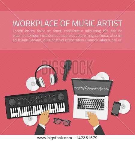 Workplace of music artist illustration in modern flat style. Workplace Music and a top view of a synthesizer, laptop, headset with microphone. Dj creative process concept. Banner for the music school.