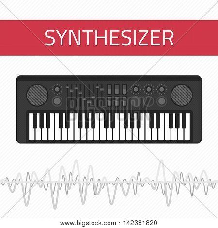 Music synthesizer illustration. Piano Keyboard Synthesizer in flat style. Sound musical piano. Keyboard.