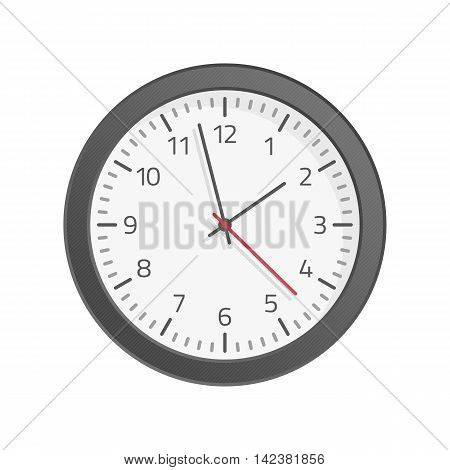 Vector wall clock icon. Illustration of round office hours on a white background.