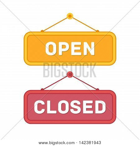 Vector illustration of Open and Closed signs.