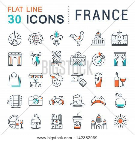 Set vector line icons in flat design France Paris and Europe with elements for mobile concepts and web apps. Collection modern infographic logo and pictogram.