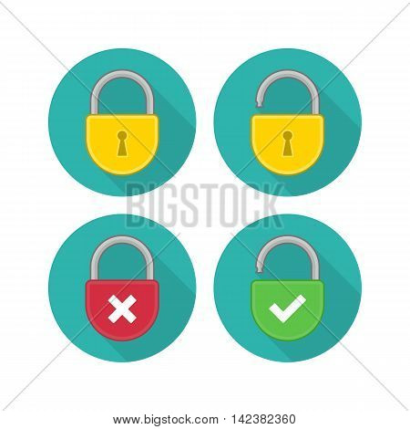 Lock Icon in trendy flat style isolated on grey background whit long shadow. Lock open and lock closed. Concept password, blocking, security. Password outline and solid vector logo, linear pictogram.
