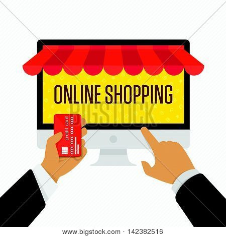 Online shopping concept desktop with computer and credit card in hand of man. On line store. Vector illustration of online shopping and e-commerce. Online store concept in flat style.