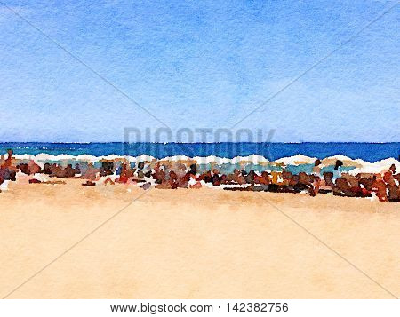 Digital watercolor painting of a beach in Barcelona in Spain. Parasols on the beach and the sea with the horizon. Space for text.
