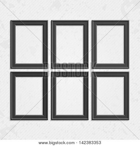 Set of black wooden frames. Wooden square picture frames of dark set for your web design. Abstract black picture frames on vintage background. Vector set of dark photo frames on the wall.