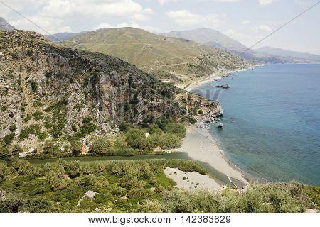 Landscape of Preveli Beach with sea and river, Crete, Greece