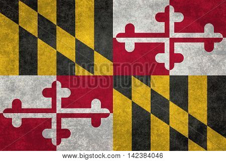 Maryland State flag with distressed grungy textures