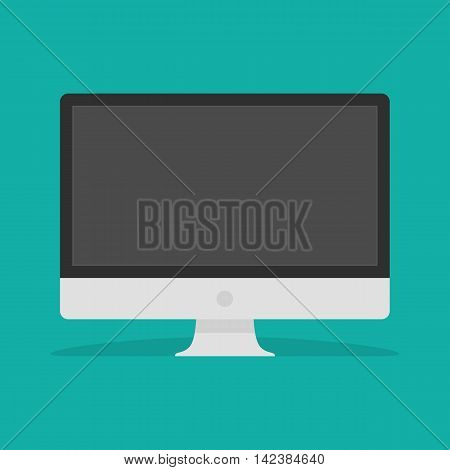 Computer Monitor vector icon. Illustration of PC desktop display in modern Flat style with a shadow. Computer web icon. Personal computer in flat style.