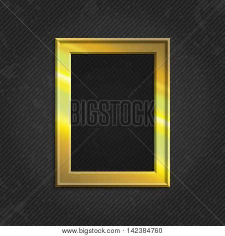 Realistic gold picture frame isolated on white background. Gold frame on a wall vector background design for your content. Realistic frame for photos or the text. Modern realistic frame.