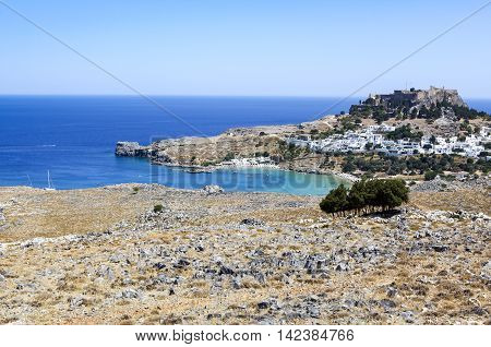 Overlooking view to Lindos bay, Rhodes, Greece