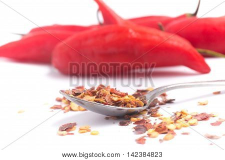 Calabrian pepper. Dry pepper in white background