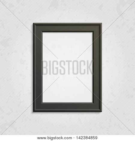Realistic black picture frame isolated on white background. Dark frame on a wall vector background design for your content. Realistic frame for photos or the text. Modern realistic frame.
