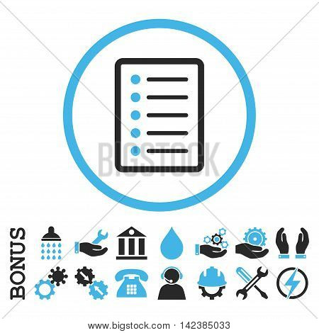 List Page vector bicolor icon. Image style is a flat pictogram symbol inside a circle, blue and gray colors, white background. Bonus images are included.