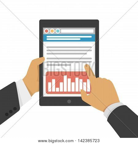 Vector illustration of hands hold tablet and pointing on the screen. Businessman hands in a suit holding a pc tablet illustration in flat style.