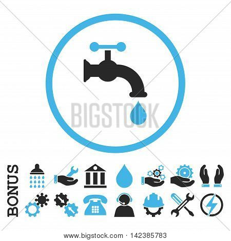 Water Tap vector bicolor icon. Image style is a flat pictogram symbol inside a circle, blue and gray colors, white background. Bonus images are included.