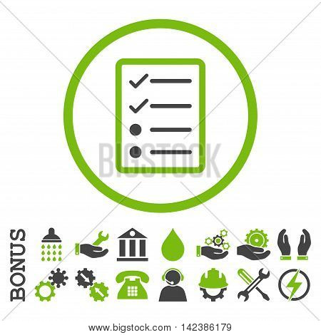 Checklist Page vector bicolor icon. Image style is a flat pictogram symbol inside a circle, eco green and gray colors, white background. Bonus images are included.