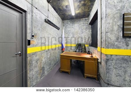 MOSCOW, RUSSIA - MAR 11, 2015: Kvest-secret material, Area 51,  interior of one of rooms a reality Mistikum quests studio