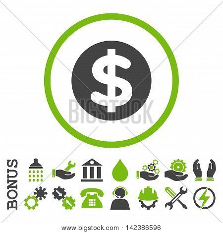 Finance vector bicolor icon. Image style is a flat pictogram symbol inside a circle, eco green and gray colors, white background. Bonus images are included.