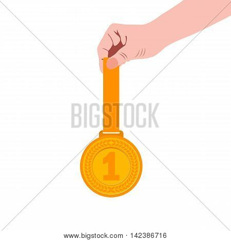 Gold medal champion in the hand. Vector illustration, icon flat